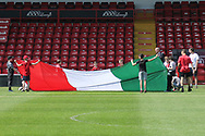 Italy flag being raised during the UEFA European Under 17 Championship 2018 match between England and Italy at the Banks's Stadium, Walsall, England on 7 May 2018. Picture by Mick Haynes.