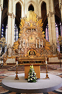 Baroque high altar of the Cathedral of Notre-Dame, Amiens, France. . The Cathedral Basilica of Our Lady of Amiens or simply Amiens Cathedral, is a Roman Catholic  cathedral the seat of the Bishop of Amiens. It is situated on a slight ridge overlooking the River Somme in Amiens. Amiens Cathedral, was built almost entirely between 1220 and c.1270, a remarkably short period of time for a Gothic cathedral, giving it an unusual unity of style. Amiens is a classic example of the High Gothic style of Gothic architecture. It also has some features of the later Rayonnant style in the enlarged high windows of the choir, added in the mid-1250s. Amiens Cathedra has been listed as a UNESCO World Heritage Site since 1981. Photos can be downloaded as Royalty Free photos or bought as photo art prints. <br /> <br /> Visit our MEDIEVAL PHOTO COLLECTIONS for more   photos  to download or buy as prints https://funkystock.photoshelter.com/gallery-collection/Medieval-Middle-Ages-Historic-Places-Arcaeological-Sites-Pictures-Images-of/C0000B5ZA54_WD0s