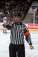 KELOWNA, BC - JANUARY 31: Referee Chris Crich stands on the ice at the Kelowna Rockets against the Spokane Chiefs at Prospera Place on January 31, 2020 in Kelowna, Canada. (Photo by Marissa Baecker/Shoot the Breeze)