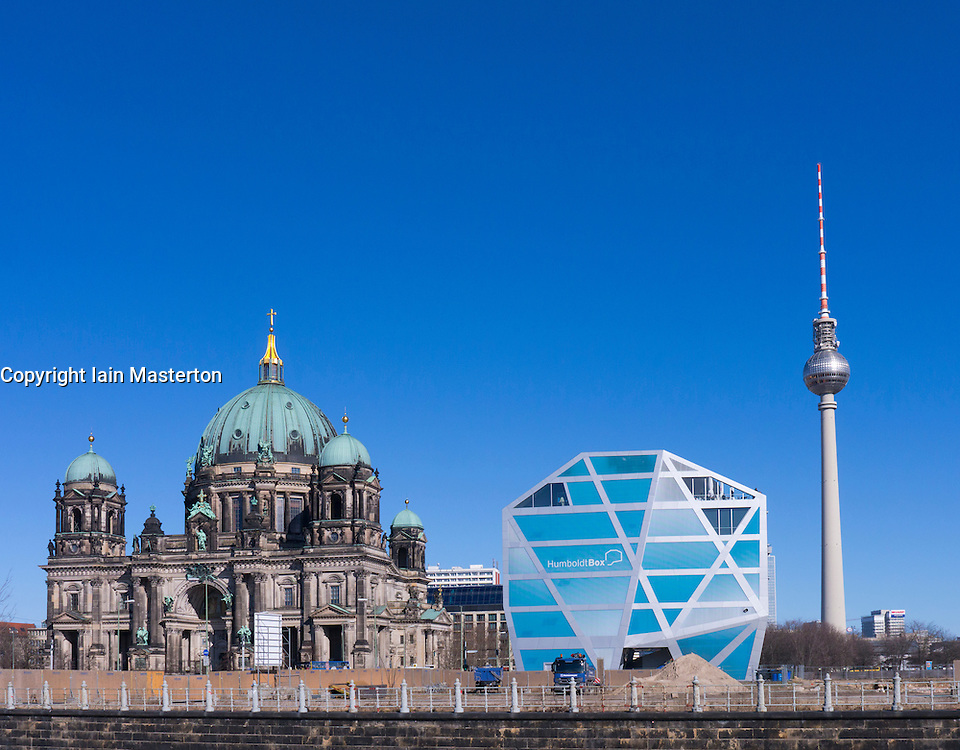 View of Berlin Cathedral, Humboldt Box and Television Tower in Mitte Berlin Germany