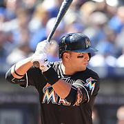 NEW YORK, NEW YORK - APRIL 13: Martin Prado, Miami Marlins, batting during the Miami Marlins Vs New York Mets MLB regular season ball game at Citi Field on April 13, 2016 in New York City. (Photo by Tim Clayton/Corbis via Getty Images)