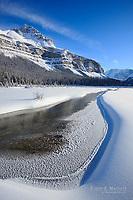 Spectacular winter scenery at Beauty Creek Flats below Tangle Ridge along the Icefields Parkway, Jasper National Park, Alberta, Canada