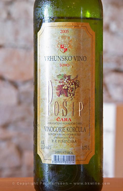 Posip Vrhunsko Vino 2005 Vinogorje Korcula Tara Winery Toreta Vinarija Winery in Smokvica village on Korcula island. Vinarija Toreta Winery, Smokvica town. Peljesac peninsula. Dalmatian Coast, Croatia, Europe.