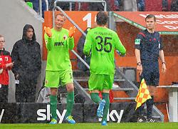 14.05.2016, WWK Arena, Augsburg, GER, 1. FBL, FC Augsburg vs Hamburger SV, 34. Runde, im Bild Alex Manninger #1 (FC Augsburg) wird fuer Marwin Hitz #35 (FC Augsburg) eingewechselt // during the German Bundesliga 34th round match between FC Augsburg and Hamburger SV at the WWK Arena in Augsburg, Germany on 2016/05/14. EXPA Pictures © 2016, PhotoCredit: EXPA/ Eibner-Pressefoto/ Hierm<br /> <br /> *****ATTENTION - OUT of GER*****