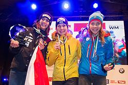 20.02.2016, Altstadt, Innsbruck, AUT, FIBT WM, Bob und Skeleton, Damen, Skeleton, Siegerehrung, im Bild v.l. Janine Flock (AUT, Silbermedaille), Tina Hermann (GER, Goldmedaille), Elena Nikitina (RUS, Bronzemedaille) // f.l. Silver medalist Janine Flock of Austria Gold medalist and Worldchampion Tina Hermann of Germany Bronze medalist Elena Nikitina of Russian Federation celebrate on Podium during award winner ceremony for the women Skeleton of FIBT Bobsleigh and Skeleton World Championships at the Altstadt in Innsbruck, Austria on 2016/02/20. EXPA Pictures © 2016, PhotoCredit: EXPA/ Johann Groder