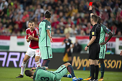 September 3, 2017 - Budapest, Hungary - Tamas Priskin of Hungary booked by red card during the FIFA World Cup 2018 Qualifying Round match between Hungary and Portugal at Groupama Arena in Budapest, Hungary on September 3, 2017  (Credit Image: © Andrew Surma/NurPhoto via ZUMA Press)