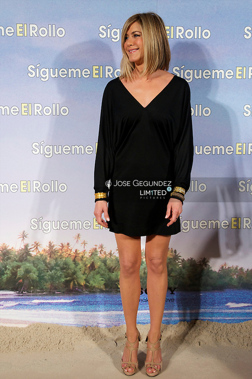 Jennifer Aniston, Adam Sandler and Brooklyn Decker attend the Premiere party of 'Sigueme el Rollo' (Just Go With It) at the Room Mate Oscar Hotel in Madrid