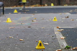 © Licensed to London News Pictures. 12/10/2020. London, UK. Evidence markers within the crime scene in Homerton in Hackney, north London following triple shooting. Officers were called at 22:48hrs on Sunday, 11 October, to reports of a shooting on Homerton High Road in Hackney, and found three people with gunshot injuries. Two men, aged 60 and 32, were taken to hospital with non life-threatening/life-changing injuries. A third man, aged 24, was taken to hospital and remains in a life-threatening condition. Photo credit: Dinendra Haria/LNP