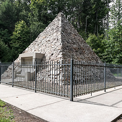 Fort Loudon, PA, USA - September 14, 2014: Fort Loudon, PA, USA - September 14, 2014: Pyramid memorial at the birthplace of President James Buchanan, 15th President of the United States, at the site of the log cabin where he was born in Cove Gap, near Mercersburg, Pennsylvania.