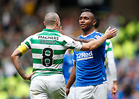 Football - 2019 / 2020 Ladbrokes Scottish Premiership - Rangers vs. Celtic<br /> <br /> Alfredo Morelos of Rangers embraces with Scott Brown of Celtic, at Ibrox Stadium.<br /> <br /> COLORSPORT/BRUCE WHITE