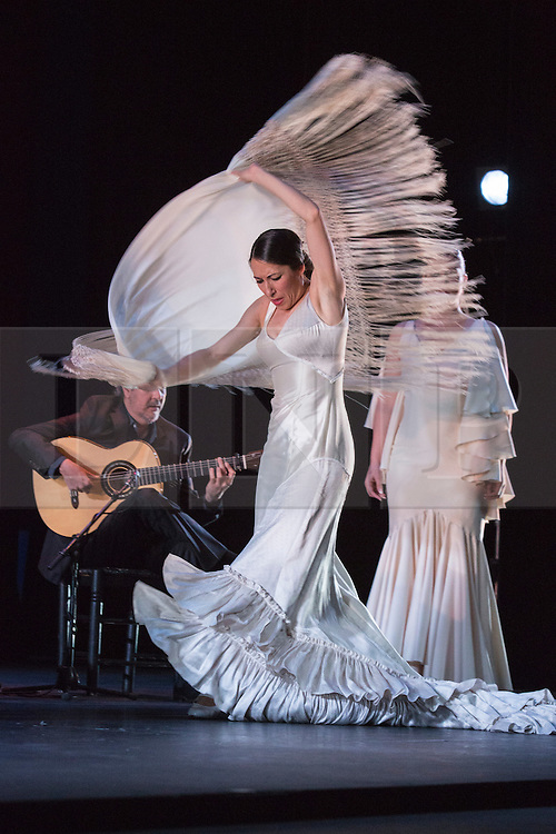 """© Licensed to London News Pictures. 28/02/2016. London, UK. Ana Morales performing. Esperanza Fernandez """"De lo Jondo y Verdadero"""" performance at Sadler's Wells Theatre during the Flamenco Festival London 2016. With Singer Esperanza Fernandez, Dancer Ana Morales, Singer Marina Heredia and Guitarist Miguel Angel Cortes. Photo credit: Bettina Strenske/LNP"""