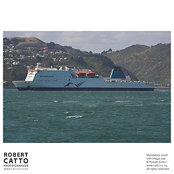 The Interislander Ferry arrives in Wellington at Lambton Harbour, Wellington, New Zealand.<br />