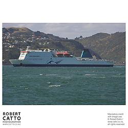 The Interislander Ferry arrives in Wellington at Lambton Harbour, Wellington, New Zealand.<br />