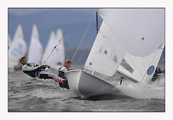 470 Class European Championships Largs - Day 3.Brighter conditions with more wind...CRO83, Sime FANTELA, Igor MARENIC