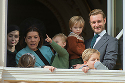 Beatrice Borromeo, Princess Caroline of Hanover, Stefano Ercole Carlo Casiraghi, Francesco Carlo Albert Casiraghi, Pierre Casiraghi are attending the military procession held in the Palace Square, during the National Day ceremonies, Monaco Ville (Principality of Monaco), on november 19th, 2019. Photo by Marco Piovanotto/ABACAPRESS.COM