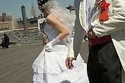 wedding couple with Empire State building in the background New York City