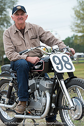 Gene Payne on the Joe Leonard 1958 Harley-Davidson factory KR racer that he completely restored at the annual AMCA Sunshine Chapter swap meet in New Smyrna Beach, FL during Daytona Bike Week. Saturday, March 7, 2015.  Photography ©2015 Michael Lichter.