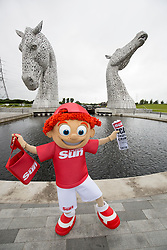 Sunny's tour of Scotland. At The Kelpies in Falkirk.