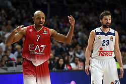 January 27, 2017 - Madrid, Madrid, Spain - Ricky Hickman (L), #7 of EA7 Emporio Armani Milano in action during the Euroleague basketball match between Real Madrid and EA7 Emporio Armani Milano. (Credit Image: © Jorge Sanz GarcíA/Pacific Press via ZUMA Wire)