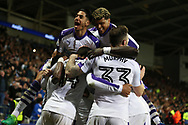 Isaac Hayden of Newcastle Utd (14 centre) celebrates with his teammates after he scores his teams 2nd goal .  EFL Skybet championship match, Cardiff city v Newcastle Utd at the Cardiff City Stadium in Cardiff, South Wales on Friday 28th April 2017.<br /> pic by Andrew Orchard, Andrew Orchard sports photography.
