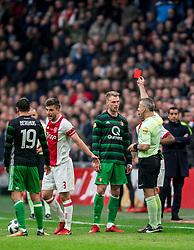 21-01-2018 NED: AFC Ajax - Feyenoord, Amsterdam<br /> Ajax was met 2-0 te sterk voor Feyenoord / Nicolai Jorgensen #9 of Feyenoord, Joel Veltman #3 of AFC Ajax neerhaalt. Nicolai Jorgensen #9 of Feyenoord krijgt zijn tweede gele en mag met rood van het veld.