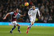 Christian Fuchs of Leicester city ® in action. Barclays Premier league match, Aston Villa v Leicester city at Villa Park in Birmingham, The Midlands on Saturday 16th January 2016.<br /> pic by Andrew Orchard, Andrew Orchard sports photography.