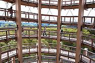 Europa, Deutschland, Nordrhein-Westfalen, Bergisches Land, Waldbroel, Baumwipfelpfad im Naturerlebnispark Panarbora, Blick ins Innere des 40 Meter hohen Aussichtsturms. - <br /> <br /> Europe, Germany, North Rhine-Westphalia, Bergisches Land region, Waldbroel, canopy walk at the nature park Panarbora, look inside the 40-meter high observation tower.