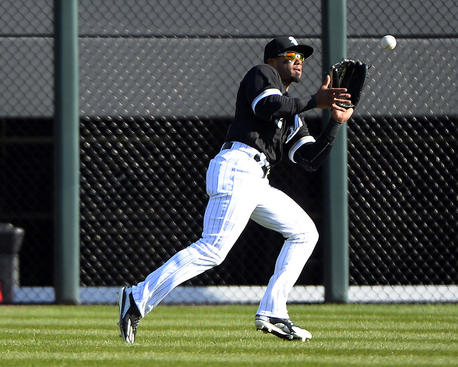 CHICAGO - APRIL 06:  Jacob May #32 of the Chicago White Sox makes a catch while fielding in outfield against the Detroit Tigers on April 6, 2017 at Guaranteed Rate Field in Chicago, Illinois.  The White Sox defeated the Tigers 11-2.  (Photo by Ron Vesely)   Subject:  Jacob May