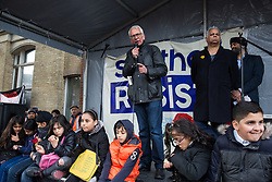 Southall, UK. 27th April 2019. Paul Holborow, founder member of the Anti Nazi League and Stand Up To Racism, addresses members of the local community and supporters at a rally outside Southall Town Hall to honour the memories of Gurdip Singh Chaggar and Blair Peach on the 40th anniversary of their deaths. Gurdip Singh Chaggar, a young Asian boy, was the victim of a racially motivated attack whilst Blair Peach, a teacher, was killed by the Metropolitan Police's Special Patrol Group during a peaceful march against a National Front demonstration.