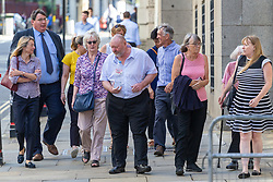 NB: REPORTER TO ID RELEVANT PEOPLE. Family, friends and supporter of Amy Parsons, 35, who was beaten to death with a metal bar in her east London flat arrive at The Old Bailey in London where the man accused of her murder Roderick Deakin-White, 37, is appearing for a plea hearing. London, July 23 2019.