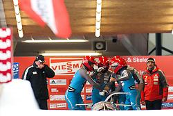 04.12.2011, Eiskanal, Igls, AUT, Viessmann FIBT Bob und Skeleton Weltcup, vierer Bob Herren, 1. Durchgang, im Bild Bob AUT 1 mit Juergen Loacker, Matthias Adolf, Juergen Mayer, Martin Lachkovics // Bob Austria 1 with Juergen Loacker, Matthias Adolf, Juergen Mayer, Martin Lachkovics during first run four Man Bob at FIBT Viessmann Bobsleigh and Skeleton world cup at Olympic ice canal, Innsbruck Igls, Austria on 2011/12/04. EXPA Pictures © 2011, PhotoCredit: EXPA/ Johann Groder
