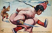 Tibetan dancers with swords and kata scarves, Postcard art by Savage Landor, 1904.