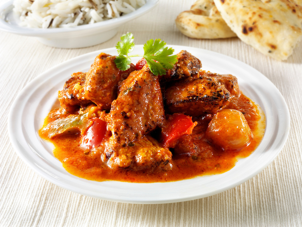 Char grilled Chicken Jalfrezi with rice and naan bread   Indian food stock pictures, photos fotos & image
