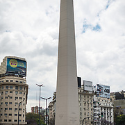 The Obelisk of Buenos Aires in the Plaza de la República in downtown Buenos Aires, Argentina.
