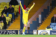 AFC Wimbledon attacker Marcus Forss (15) celebrating after scoring goal to make it 0-1 during the EFL Sky Bet League 1 match between Southend United and AFC Wimbledon at Roots Hall, Southend, England on 12 October 2019.