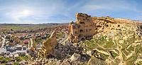 Aerial view of Cappadocia stone palace, Turkey.