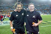26th July, 2003. Telstra Stadium, Sydney, Australia. Bledisloe Cup. All Blacks v Wallabies. <br />Tana Umaga and Mark Hammett.<br />The All Blacks won the match, 50 -21.<br />Pic: Andrew Cornaga/Photosport