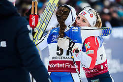 January 26, 2019 - Ulricehamn, SWEDEN - 190126 Ebba Andersson of Sweden and Therese Johaug of Norway celebrates after the women's 10 km free technique interval start during the FIS Cross-Country World Cup on January 26, 2018 in Ulricehamn..Photo: Mathias Bergeld / BILDBYRN / Cop 200 (Credit Image: © Mathias Bergeld/Bildbyran via ZUMA Press)