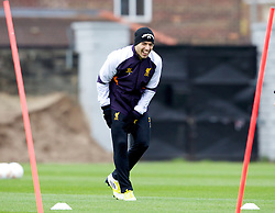 LIVERPOOL, ENGLAND - Wednesday, November 7, 2012: Liverpool's Luis Alberto Suarez Diaz during a training session at the club's Melwood Training Ground ahead of the UEFA Europa League Group A match against FC Anji Makhachkala. (Pic by Vegard Grott/Propaganda)