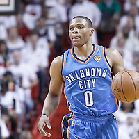 19 June 2012: Oklahoma City Thunder point guard Russell Westbrook (0) brings the ball upcourt during the Miami Heat 104-98 victory over the Oklahoma City Thunder, in Game 4 of the 2012 NBA Finals, at the AmericanAirlinesArena, Miami, Florida, USA.