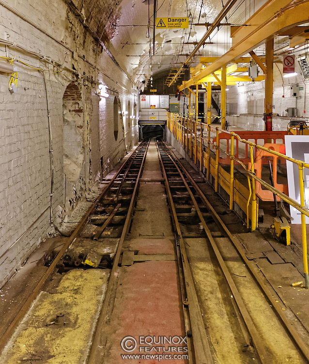 London, United Kingdom - 3 February 2016<br /> PICTURE EXCLUSIVE - The disused Mail Rail underground rail lines and station pictured beneath Mount Pleasant sorting office. Work has commenced on The Postal Museum which will open in 2017 and be located next to Mount Pleasant sorting office in Clerkenwell, London, England, UK. Visitors to the museum will be able to ride on a train on the famous Mail Rail underground rail line. The underground Mail Rail was used for mail distribution to avoid road congestion until 2003 when the lines were closed. Among the supporters of The Postal Museum are Royal Mail, Post Office and the Heritage Lottery Fund.<br /> (photo by: HAUSARTS / EQUINOXFEATURES.COM)<br /> Picture Data:<br /> Copyright: ©2016 Equinox Licensing Ltd. +448700 780000<br /> Contact: Equinox Features<br /> Date Taken: 20160203<br /> Time Taken: 17191924<br /> www.newspics.com