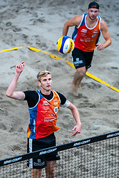 Jasper Bouter in action during the third day of the beach volleyball event King of the Court at Jaarbeursplein on September 11, 2020 in Utrecht.