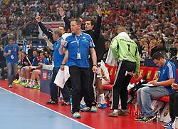 31.05.2014, Lanxess Arena, Koeln, GER, EHF CL, MKB MVM Veszprem vs THW Kiel, Halbfinale, im Bild Trainer Alfred Gislason (THW Kiel) beim Jubel // during the EHF Champions League semifinal match between MKB-MVM Veszprem and THW Kiel at the Lanxess Arena in Koeln, Germany on 2014/05/31. EXPA Pictures © 2014, PhotoCredit: EXPA/ Eibner-Pressefoto/ Schueler<br /> <br /> *****ATTENTION - OUT of GER*****