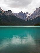 View of Emerald Lake from near the bridge; Yoho National Park, near Golden, British Columbia, Canada.