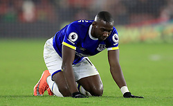 Everton's Yannick Bolasie kneels dejected during the Premier League match at St Mary's Stadium, Southampton.