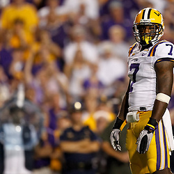 Sep 25, 2010; Baton Rouge, LA, USA; LSU Tigers cornerback Patrick Peterson (7) lines up against the West Virginia Mountaineers during the second half at Tiger Stadium. LSU defeated West Virginia 20-14.  Mandatory Credit: Derick E. Hingle