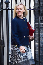 London, July 4th 2017. Chief Secretary to the Treasury Liz Truss attends the weekly cabinet meeting at 10 Downing Street in London.