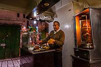 A falafel shop in the Arab Souk, Old City, Jerusalem, Israel.