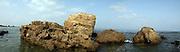 Israel, Coastal Plains, Panorama view of Eolianite limestone rocks in the sea
