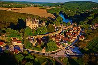 France, Aquitaine, Dordogne (24), Perigord Noir, vallee de la Dordogne, Vitrac, Chateau de Montfort // France, Aquitaine, Dordogne, Dordogne Valley, Perigord Black, Vitrac, Chateau de Montfort, Aerial view